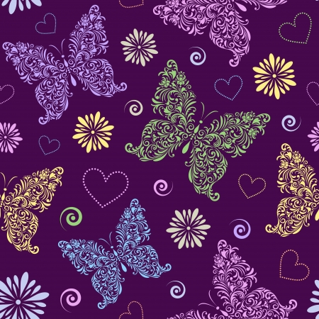 Vector illustration of  seamless pattern with abstract floral butterflies on dark background