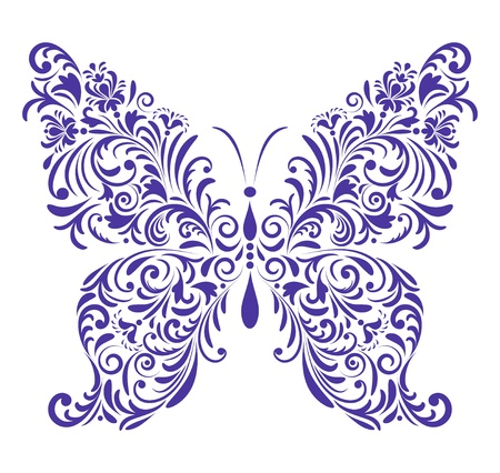 Vector illustration of abstract floral butterfly isolated on white background Illustration