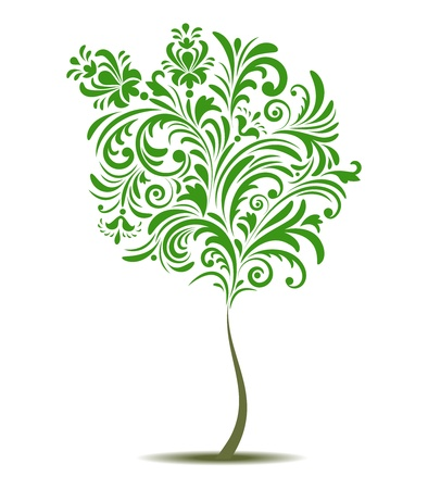 deciduous: Vector illustration of abstract tree isolated on white background