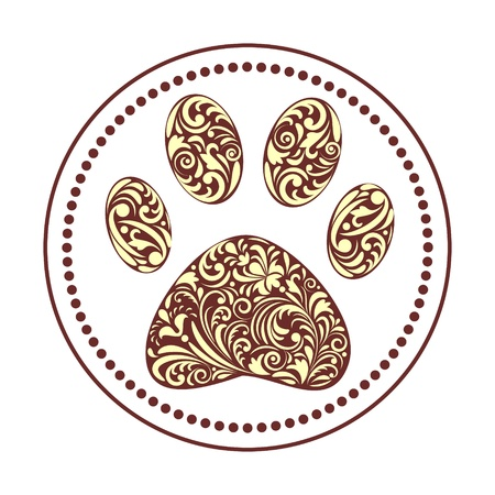 bear silhouette:  illustration of floral animal paw print on white background