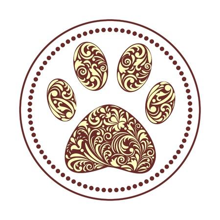 bear silhouette: illustrazione di stampa floreale zampa animale su sfondo bianco