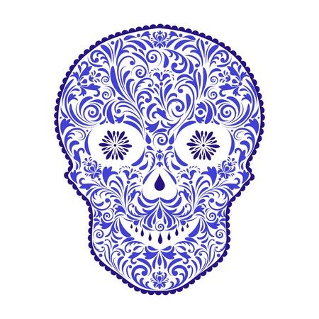dode bladeren: illustratie van abstracte bloemen schedel geïsoleerd op een witte achtergrond. Stock Illustratie