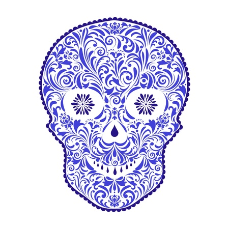 white sugar: illustration of abstract floral skull isolated on white background. Illustration