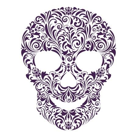tete de mort: illustration du cr�ne floral abstrait isol� sur fond blanc.