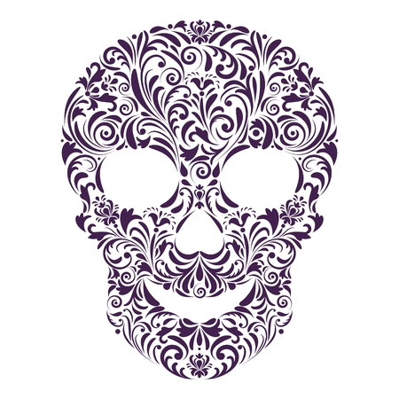 vignette: illustration of abstract floral skull isolated on white background. Illustration
