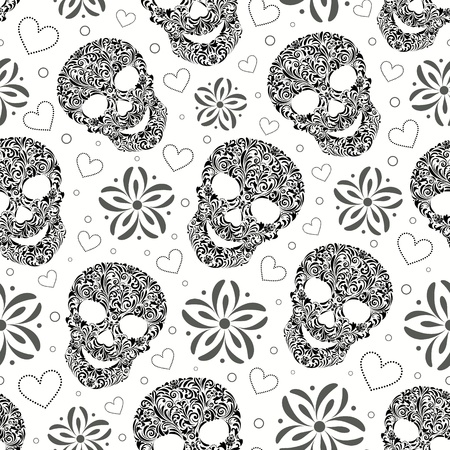 illustration of seamless pattern with abstract floral skulls Çizim