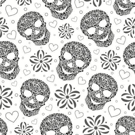 dode bladeren: illustratie van naadloze patroon met abstracte bloemen schedels Stock Illustratie