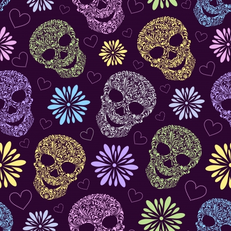illustration of seamless pattern with abstract floral skulls