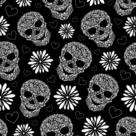 skeleton skull: illustration of seamless pattern with abstract floral skulls