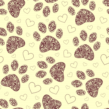 illustration of seamless pattern with floral animal paw print