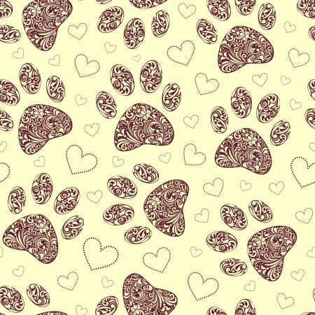 huellas de animales: ilustraci�n de patr�n transparente con estampado floral pata animales