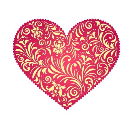 illustratie van bloemen valentijn hart geïsoleerd op een witte achtergrond.