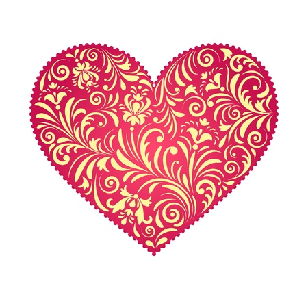 heart pattern: illustration of  floral  valentine heart  isolated on white background.