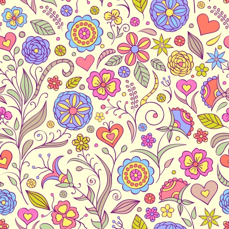 illustration of seamless pattern with abstract flowers Floral background
