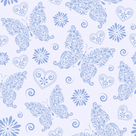 illustration of  seamless pattern with abstract floral butterflies Vector
