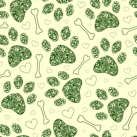 paw paw:  illustration of seamless pattern with floral animal paw print  Illustration