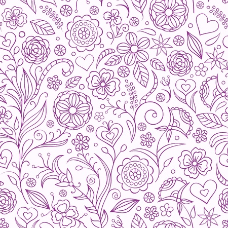 illustration of seamless pattern with abstract flowers.Floral background Vector