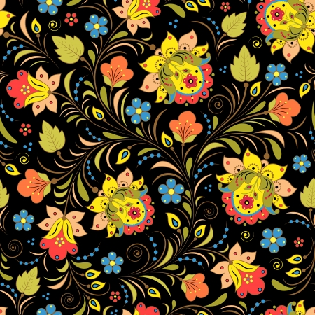 illustration of seamless pattern with traditional russian floral ornament Khokhloma  Çizim