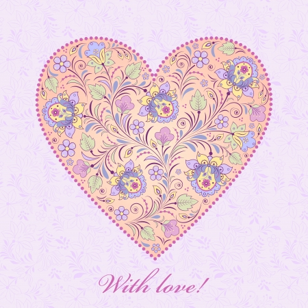 Vector illustration of  floral  valentine card Stock Vector - 16504532