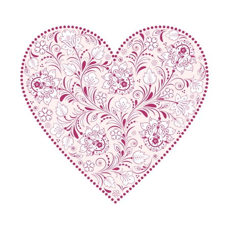 floral heart isolated on white background Stock Vector - 16575249