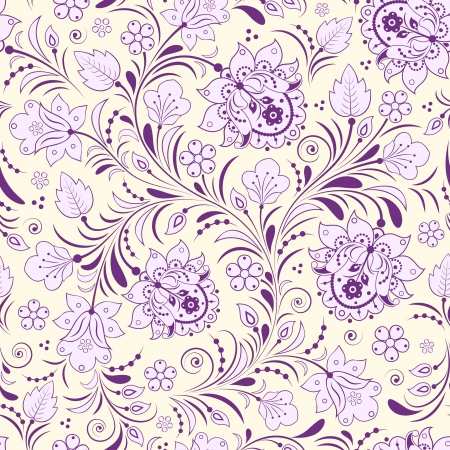 Vector illustration of seamless pattern with traditional russian floral ornament.Khokhloma. Vector