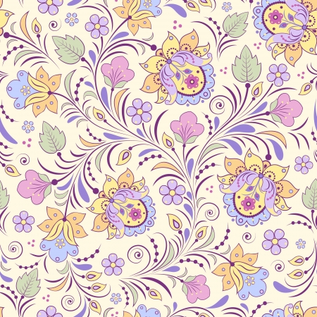 Vector illustration of seamless pattern with abstract flowers.Floral background Çizim