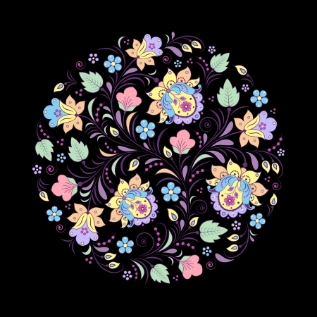 Vector illustration of abstract floral pattern oh black background