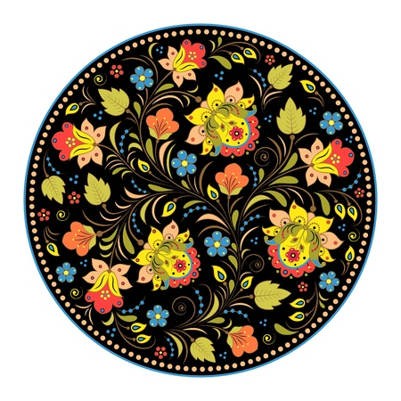 Vector illustration of floral traditional russian pattern.Khokhloma. Çizim