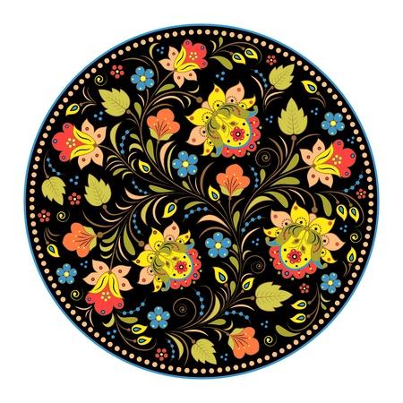 hohloma: Vector illustration of floral traditional russian pattern.Khokhloma. Illustration