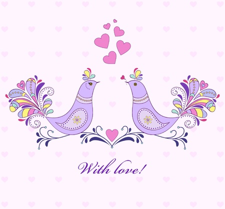 hand drawn flower: illustration of valentine`s card with bird couple.