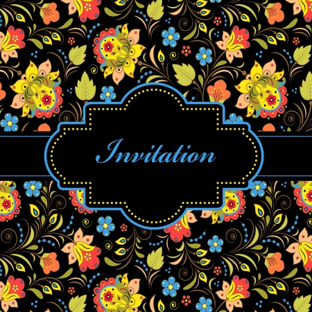 illustration of colorful floral invitation card ( or place your text) Stock Vector - 16584585