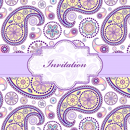 purple swirls:  illustration of  colorful floral invitation card ( or place your text)