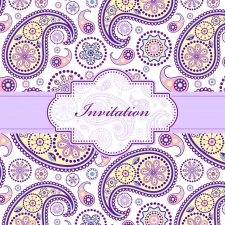 verde y morado: ilustraci�n de la tarjeta de invitaci�n colorido floral (o coloque su texto)