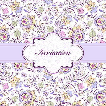 illustration of  colorful floral invitation card ( or place your text) Illustration