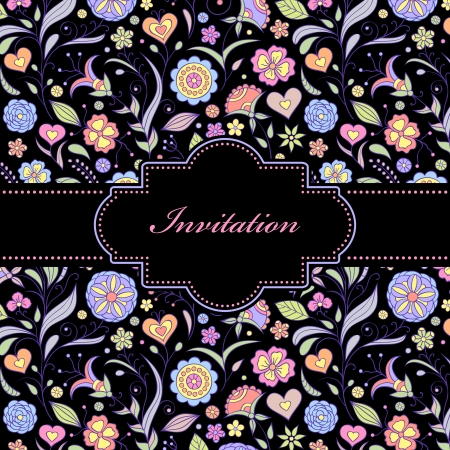 illustration of  colorful floral invitation card ( or place your text) Stock Vector - 16595161