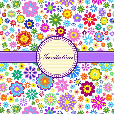 purple lilac: Vector illustration of  colorful floral invitation card ( or place your text) Illustration