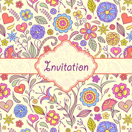 Vector illustration of  colorful floral invitation card   or place your text Stock Vector - 16661356