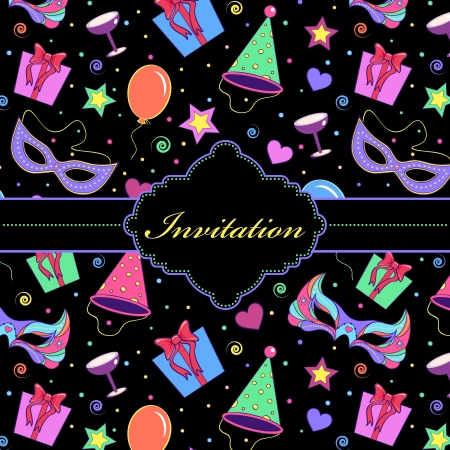 Vector illustration of  colorful  invitation card  Çizim