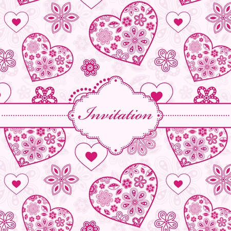 ornate swirls: Vector illustration of floral invitation card ( or place your text) Illustration