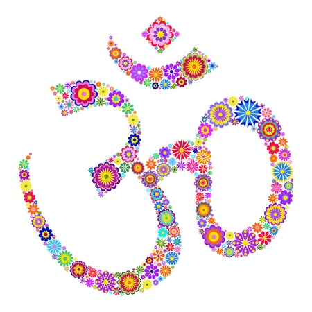 yoga icon: Vector illustration of Om symbol made of flowers on white background