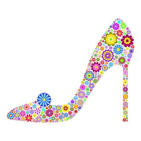 stilettos: illustration of floral shoe isolated on white background