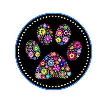 paw print: ilustraci�n de la impresi�n floral pata animal en el fondo blanco