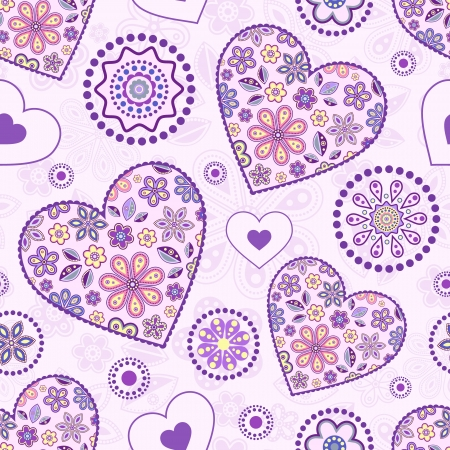 violet flower: Vector illustration of seamless pattern with abstract hearts