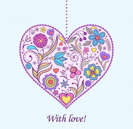 Vector illustration of  floral  valentine heart Stock Vector - 16707559