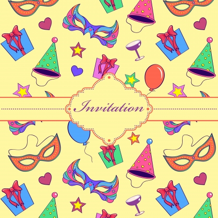 Vector illustration of  colorful  invitation card  Vector