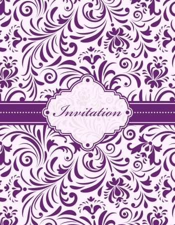 purple swirls: Vector illustration of  floral invitation card   or place your text  Illustration