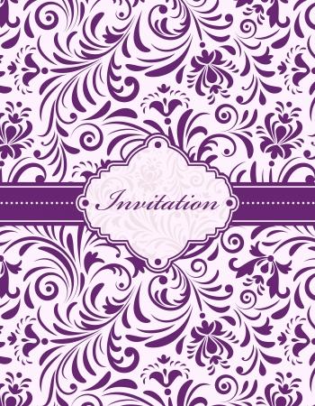 flor morada: Vector ilustraci�n de la tarjeta de invitaci�n floral o colocar el texto Vectores