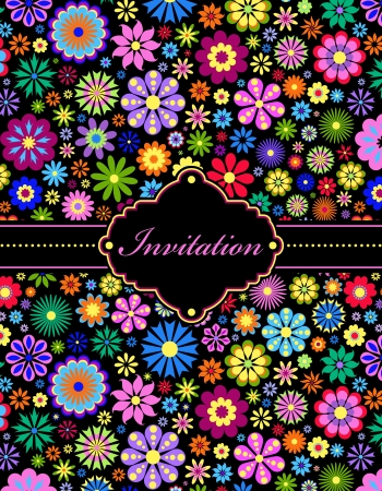 illustration of  colorful floral invitation card   or place your text