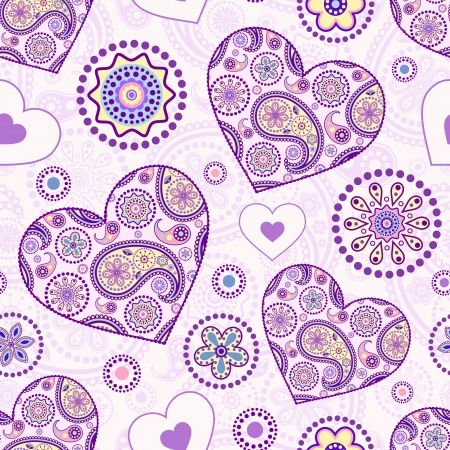 Vector illustration of seamless pattern with abstract floral hearts Vector