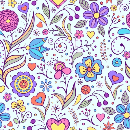 corazones azules: Ilustraci�n vectorial de patr�n sin fisuras con flores resumen de antecedentes florales Vectores